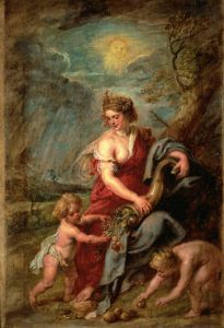 Pagan Horn of Plenty,     Abudantia,  & baby ZEUS.